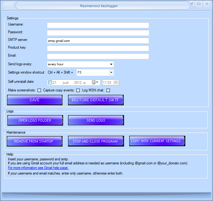 Click to view Keymemory keylogger screenshots